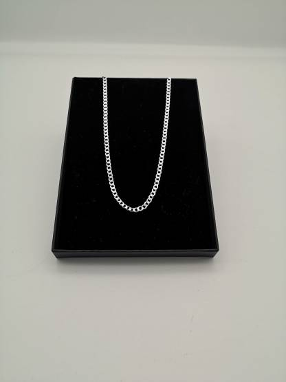 sterling silver flat octagonal curb chain in an eco friendly jewellery box
