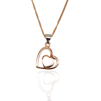 rose gold plated double heart pendant