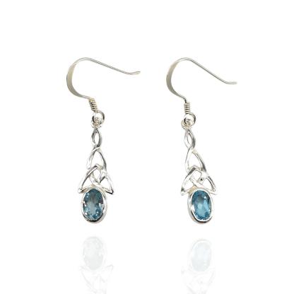 silver celtic blue topaz earrings