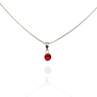 silver red cz birthstone pendant may
