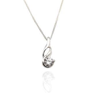 silver swirling cz pendant