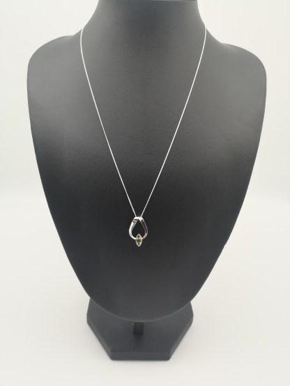 Sterling Silver Marquise Peridot Ribbon Pendant