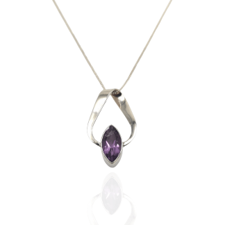 silver amethyst ribbon pendant