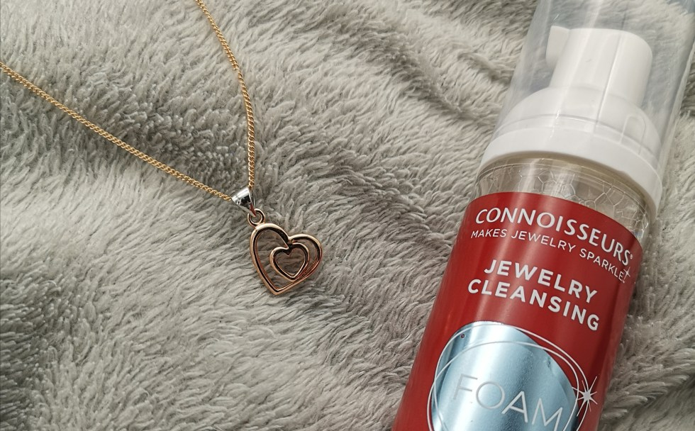 rose gold plated sterling silver double heart pendant with connisseus jewellery cleansing foam