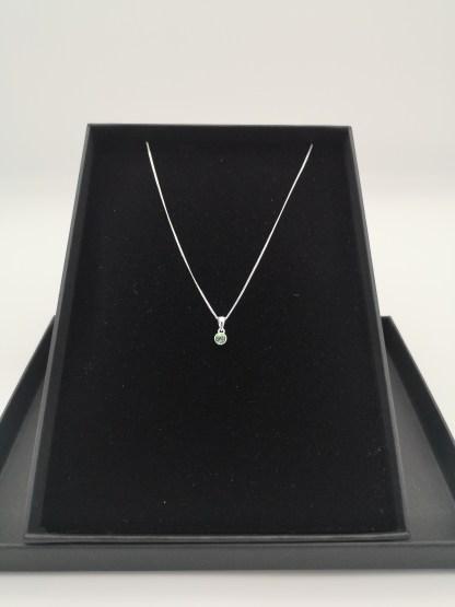 sterling silver green cz birthstone pendant (Aug)