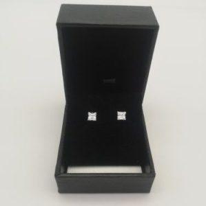 4mm cz stud earrings in box