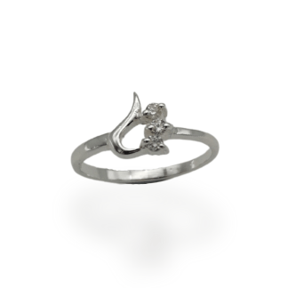 silver heart cz ring