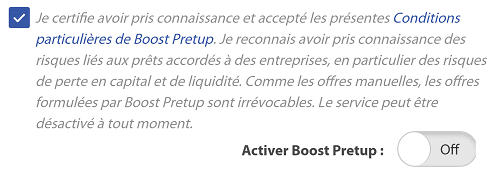 Activation robot d'investissement Pretup