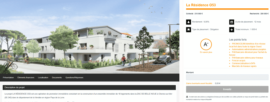 Fundimmo Fiche projet Crowdfunding immobilier