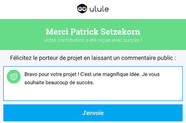 Ulule - Don message d'encouragement