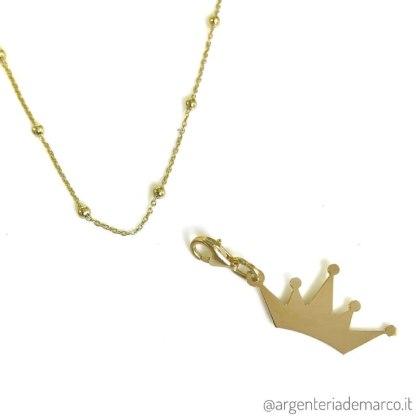Collana Corona Oro in Argento 925