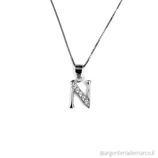 Collana Lettera N in Argento