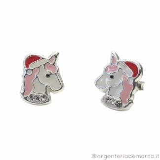 Orecchini Bambina Unicorno di Natale