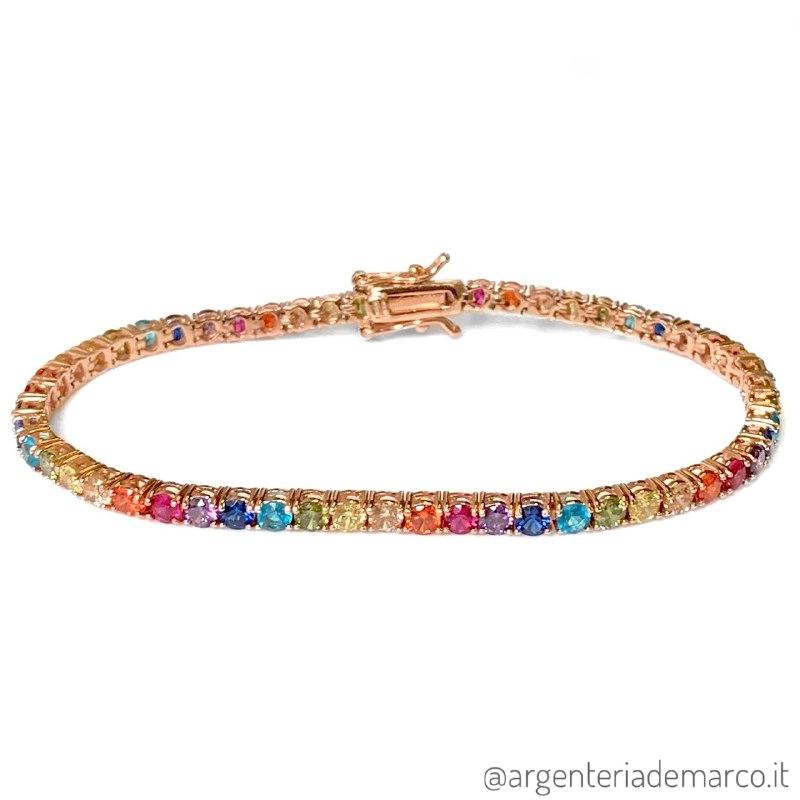 Bracciale Tennis Argento Rainbow