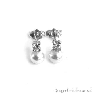 Orecchini Perle e Zirconi in Argento 6mm