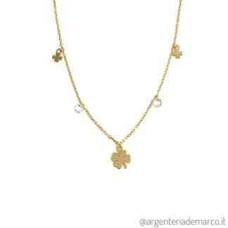 Collana Quadrifoglio Oro in Argento