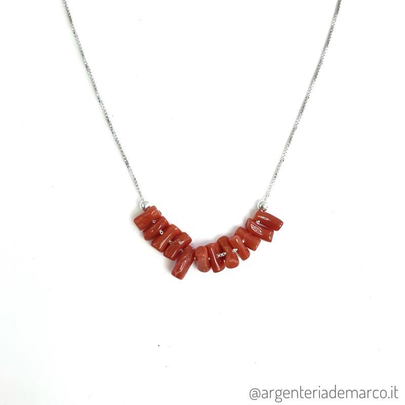 Collana Corallo Rosso in Argento 925