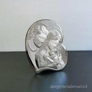 Icona Sacra in Argento 925 Sacra Famiglia cuore AE0713/3S