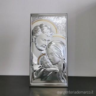 Icona Sacra in Argento Sacra Famiglia 24x48cm AE0710/5