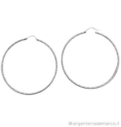 Orecchini a Cerchio Argento 925 2x65mm doppia diamantatura OCS069