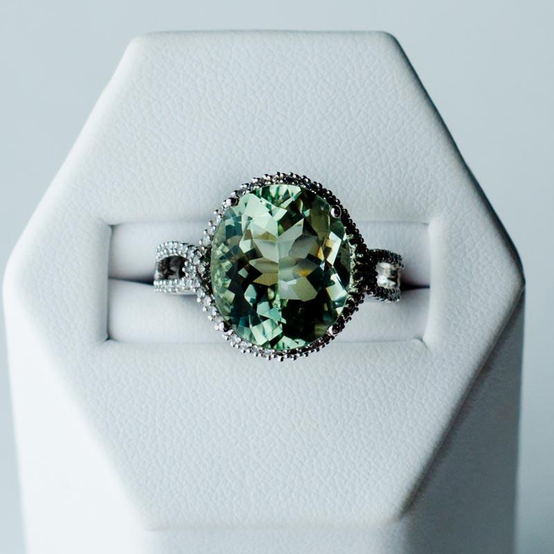 Green Amethyst And Diamond Ring Argento Laraine Fine Jewelry