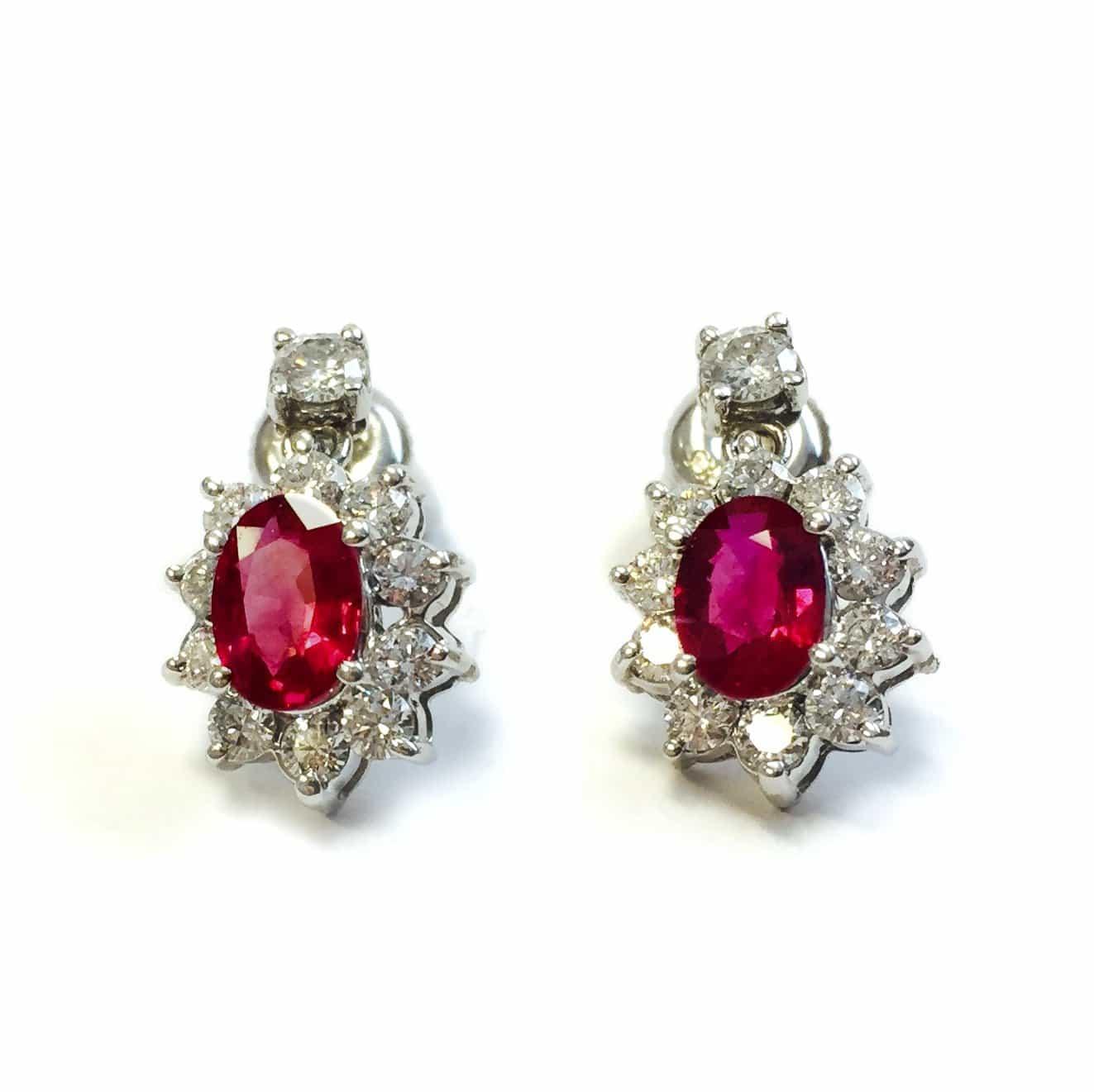 White gold vintage ruby diamond earrings  Argo  Lehne