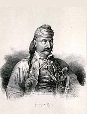 Theodoros Kolokotronis - Lithography by Karl Krazeisen (1794-1878)