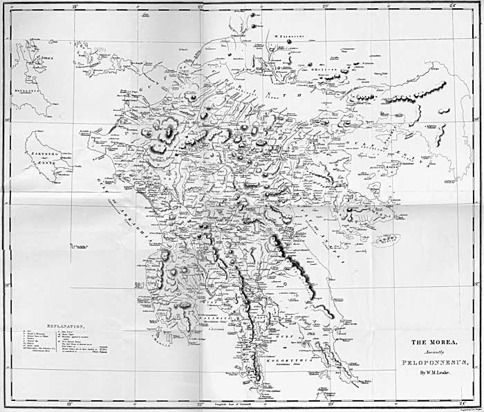 Map of the Peloponnesus by William Martin Leake