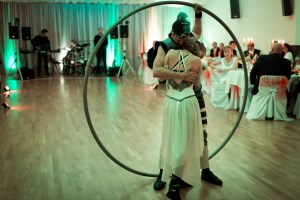 Romantic Duo - Woman and Man in Cyr Wheel - Acrobatic Show Argolla