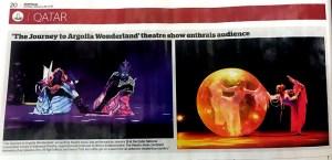 Gulf Times - Argolla Journey To Wonderland - theatre acrobatic show