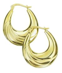 Buy Silver and 9ct Bonded Gold Large Oval Creole Hoop ...
