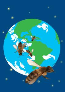 Illustrasjonstegning: en sverm bier har forlatt jordkloden og svever høyt oppe i atmosfæren.