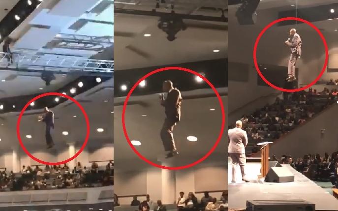 Pastor asombra a fieles de todo el mundo al 'volar' dentro de una iglesia