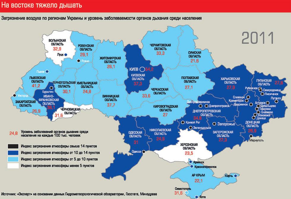 Загрязнение воздуха по регионам Украины и уровень заболеваемости органов дыхания среди населения