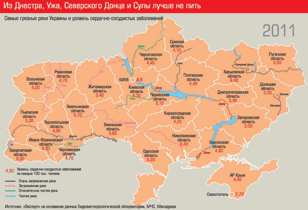 Самые грязные реки Украины и уровень сердечно-сосудистых заболеваний
