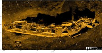 Shipwreck at a depth of 600 m (Credit: FFI - Forsvarets forskningsinstitutt)