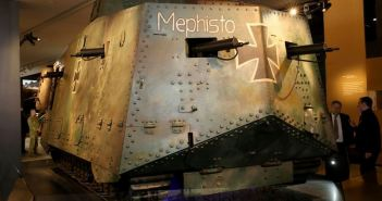The last remaining First World War German A7V tank, Panzerkampfwagen 506, 'Mephisto' and the battle damage it absorbed during the First World War at the Australian War Memorial in Canberra. (Credits: Australian War Memorial)