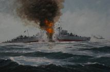 Painting of the Battle of the Barents Sea, World War II. The ship depicted is the German destroyer Friedrich Eckoldt. (Credits: Irwin J. Kappes via Wikimedia)