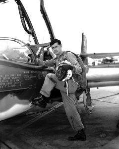 Capt. Hank Hoffman climbs into an A-37B Dragonfly at Bien Hoa, South Vietnam. Hoffman piloted A-37Bs for the 604th SOS during the Vietnam War. (Credits: Robert F. Dorr)