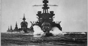 USS PENNSYLVANIA and battleship of COLORADO class followed by three cruisers move in line into Lingayen Gulf.