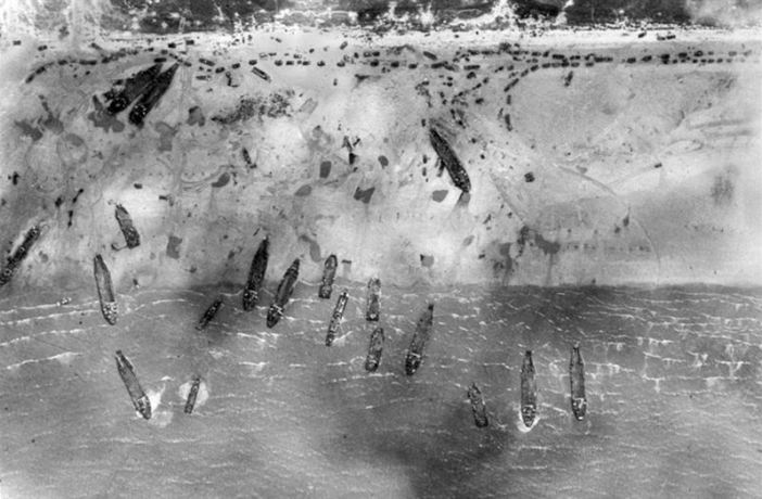 Sword beach on 6 June 1944. This image is taken from a Royal Air Force Mustang aircraft of II (Army Cooperation) Squadron.