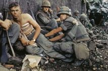 """Twentieth Century """"Angel of Mercy"""" -- D. R. Howe (Glencoe, MN) treats the wounds of Private First Class D. A. Crum (New Brighton, PA), """"H"""" Company, 2nd Battalion, Fifth Marine Regiment, during Operation Hue City."""