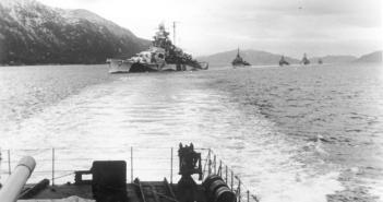 Tirpitz, escorted by several destroyers, steaming in the Bogenfjord in October 1942