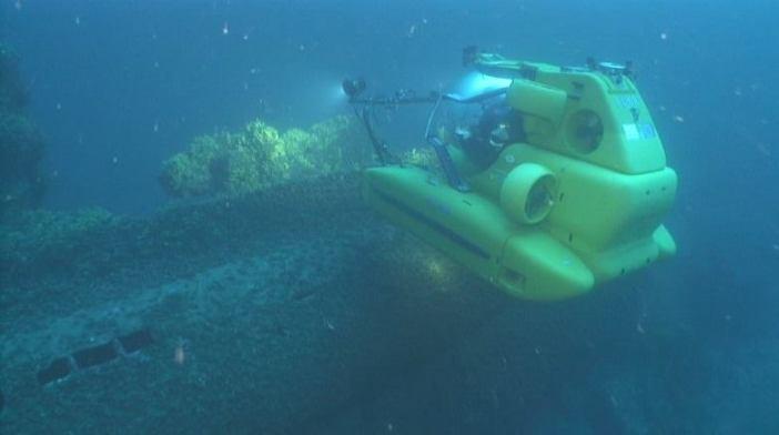 """Thetis"" hovers next to the wreck of U-133. (Credits: Kostas Katsaros)"