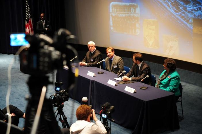 (left to right) Dr. James P. Delgado, director of Maritime History for the National Oceanic and Atmospheric Administration (NOAA) Office of National Marine Sanctuaries, Dr. Robert V. Schwemmer, regional coordinator of Maritime History for the National Oceanic and Atmospheric Administration (NOAA) Office of National Marine Sanctuaries, Dr. Alexis Catsambis, archaeologist at Naval History Heritage Command, and Diane Gollnitz, granddaughter of Lt. Ernest L. Jones, commanding officer of USS Conestoga (AT 54), speak with media regarding the discovery of Conestoga during a ceremony at the U.S. Navy Memorial. Conestoga left from Mare Island Naval Shipyard, Ca. on March 25, 1921, and was declared lost with her crew 56 crewmembers on June 30, 1921. (Credits: U.S. Navy / Mass Communication Specialist 1st Class Clifford L. H. Davis)