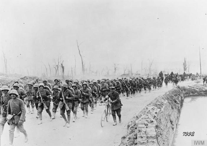 The Operation Michael. German reserves marching forward along the Albert road, March 1918- sanders marble