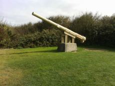 One of the four neutralized 155mm Guns of Pointe du Hoc