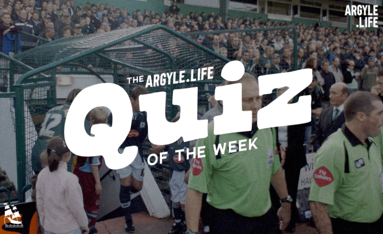 """The Argyle Life quiz of the week"" written over an image of Plymouth Argyle exiting the tunnel from the old Mayflower stand."