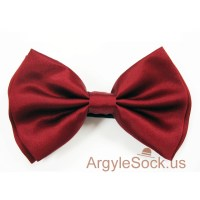 Men's Maroon/Burgundy Bow Tie with elastic back strap
