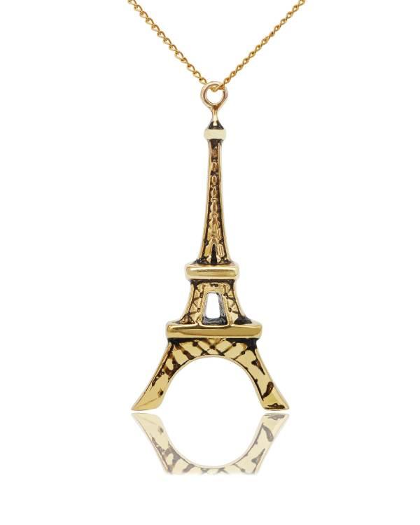 Eiffel Tower Paris Handmade Brass Gold Necklace Pendant